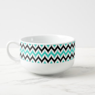 White, Black and Turquoise Zigzag Ikat Pattern Soup Mug