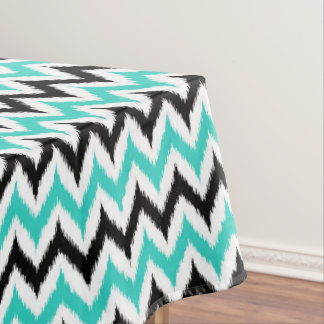 White, Black and Turquoise Zigzag Ikat Pattern Tablecloth