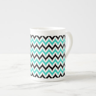 White, Black and Turquoise Zigzag Ikat Pattern Tea Cup