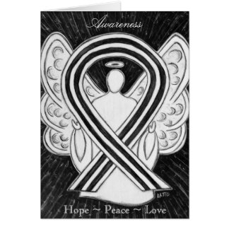 White & Black Awareness Ribbon Angel Greeting Card