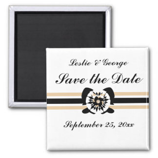 White, black, beige, Floral bow Save the Date Square Magnet