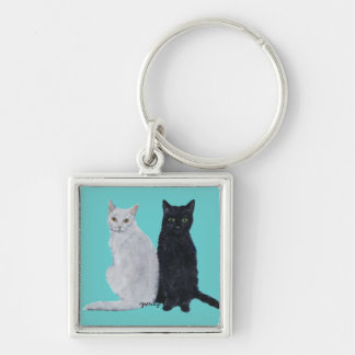 White & Black Cats Keychain