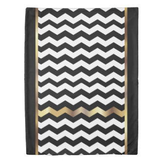White & Black Chevron with Gold Duvet Cover