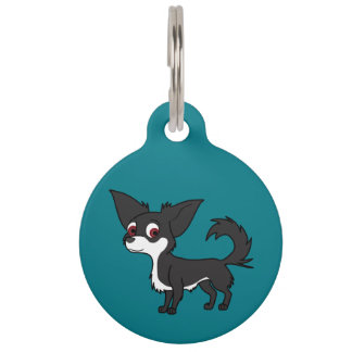 White & Black Chihuahua with Long Hair Pet Name Tag