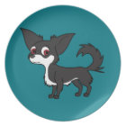 White & Black Chihuahua with Long Hair Plate