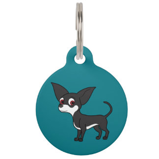 White & Black Chihuahua with Short Hair Pet Tags