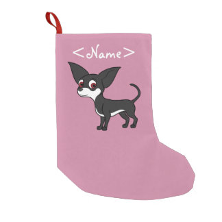 White & Black Chihuahua with Short Hair Small Christmas Stocking