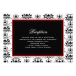 White & Black Damask Red Accent Reception Card