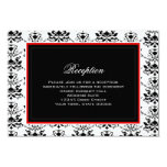 White & Black Damask Red Accent Reception Card Invites