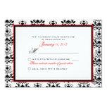 White & Black Damask Red Accent RSVP Custom Custom Invite