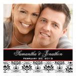 White & Black Damask Red Photo Wedding Invitation