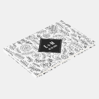 White | Black Floral Pattern Wedding Guest Book