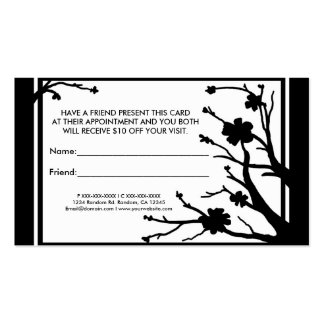 White black floral refer a friend business cards