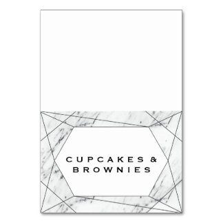 White & Black Geometric Marble Buffet Food Labels Card