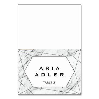 White & Black Geometric Marble Escort Place Cards