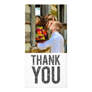 White & Black Glitter Thank You Photo Cards