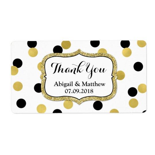 White Black Gold Confetti Wedding Labels