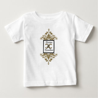 White Black Gold Damask Sweet 16 baby Baby T-Shirt