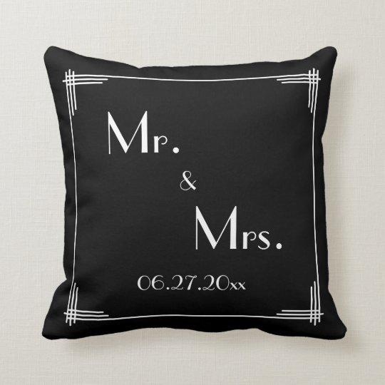White Black Great Gatsby Art Deco Wedding Pillows