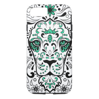 White Black & Green Glitter Lion Sugar Skull iPhone 7 Case