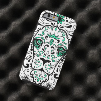White Black & Green Glitter Lion Sugar Skull Tough iPhone 6 Case