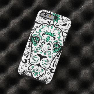 White Black & Green Glitter Lion Sugar Skull Tough iPhone 6 Case