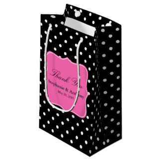 White Black, Hot Pink Polka Dot Wedding Thank You Small Gift Bag