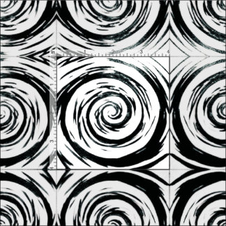 White & Black Hypnotic Swirl Art Fabric
