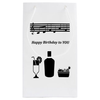 White, Black image,music notes Birthday Wine Bag
