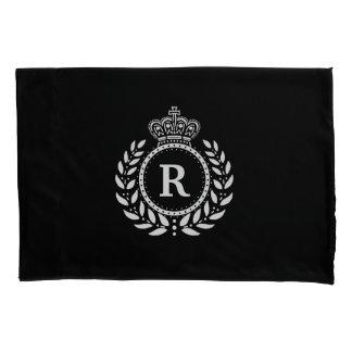 White Black Laurel Wreath Crown Monogram | Royal Pillowcase