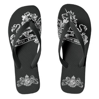 White & Black Lion Unicorn British Coat Arms Flip Flops