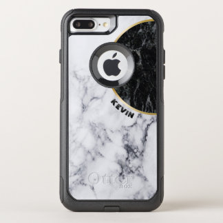 White & Black Marble Modern Geometric Design OtterBox Commuter iPhone 8 Plus/7 Plus Case