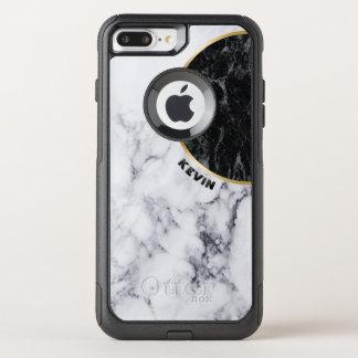White & Black Marble Modern Geometric Design OtterBox Commuter iPhone 8 Plus/7 Plus Case