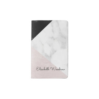 White Black Marble, Pink Silk Abstract Geometric Pocket Moleskine Notebook