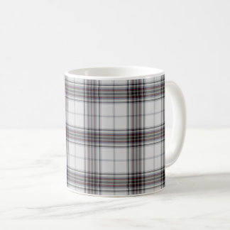White Black Maroon Red Tartan Plaid Coffee Mug