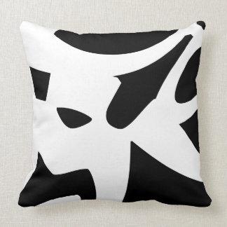 White & Black modern abstract designer Throw Pillow