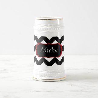 White & Black Modern Chevron Monogram 18 Oz Beer Stein