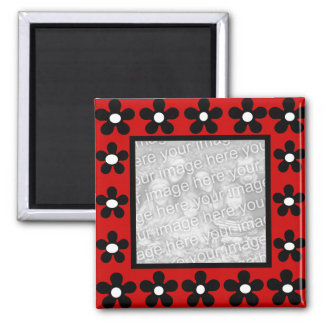 White black n red flower frame template magnet