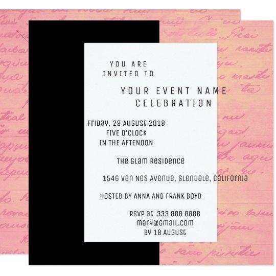 White Black Old Script Pink Rose Gold Salmon Card