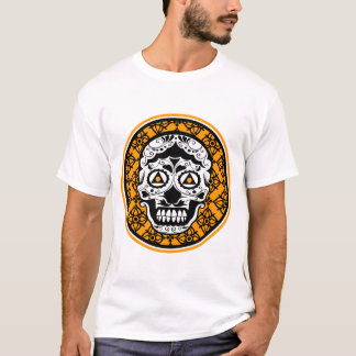 White Black Orange sugar skull Damask T-Shirt
