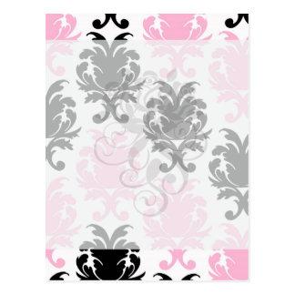 white black pink lovely bold damask postcard
