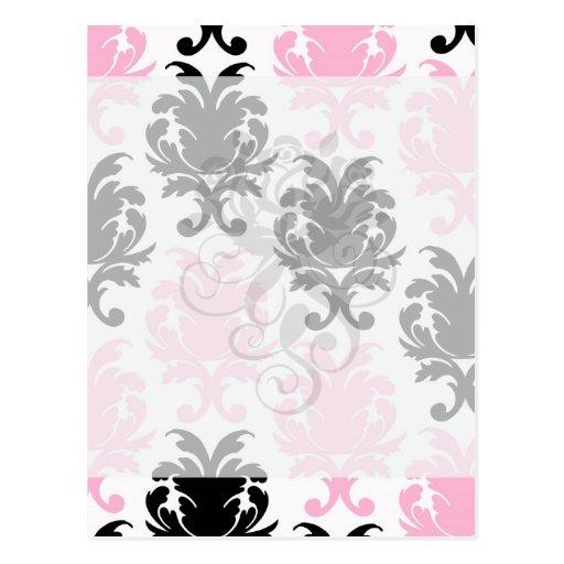 white black pink lovely bold damask postcards