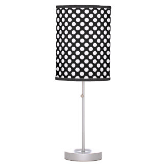 White Black Polka Dots - Table Lamp