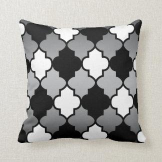White & Black Quatrefoil Pattern on Grey Blend Throw Pillow
