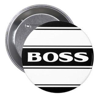 White Black Race Stripe Muscle Car Boss Button Pin