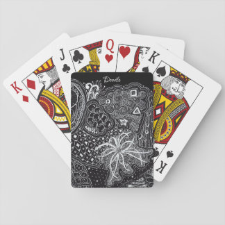 White/Black Random Doodle Art Fun Playtime Playing Cards