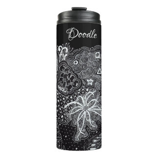White/Black Random Doodle Art Fun Random Thermal Tumbler