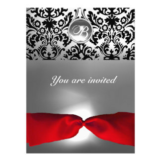 WHITE BLACK RED RIBBON DAMASK GEM STONE MONOGRAM r Personalized Invitations