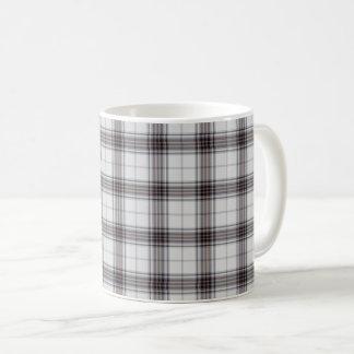 White Black Red Small Tartan Plaid Coffee Mug