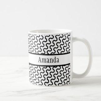 White & Black Retro, Diagonal Waves Pattern Coffee Mug
